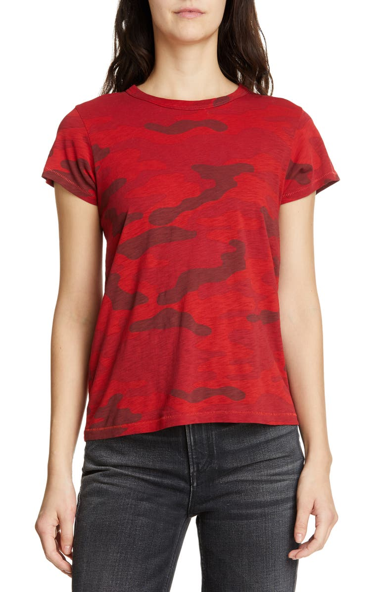 RAG & BONE Camo Tee, Main, color, RED