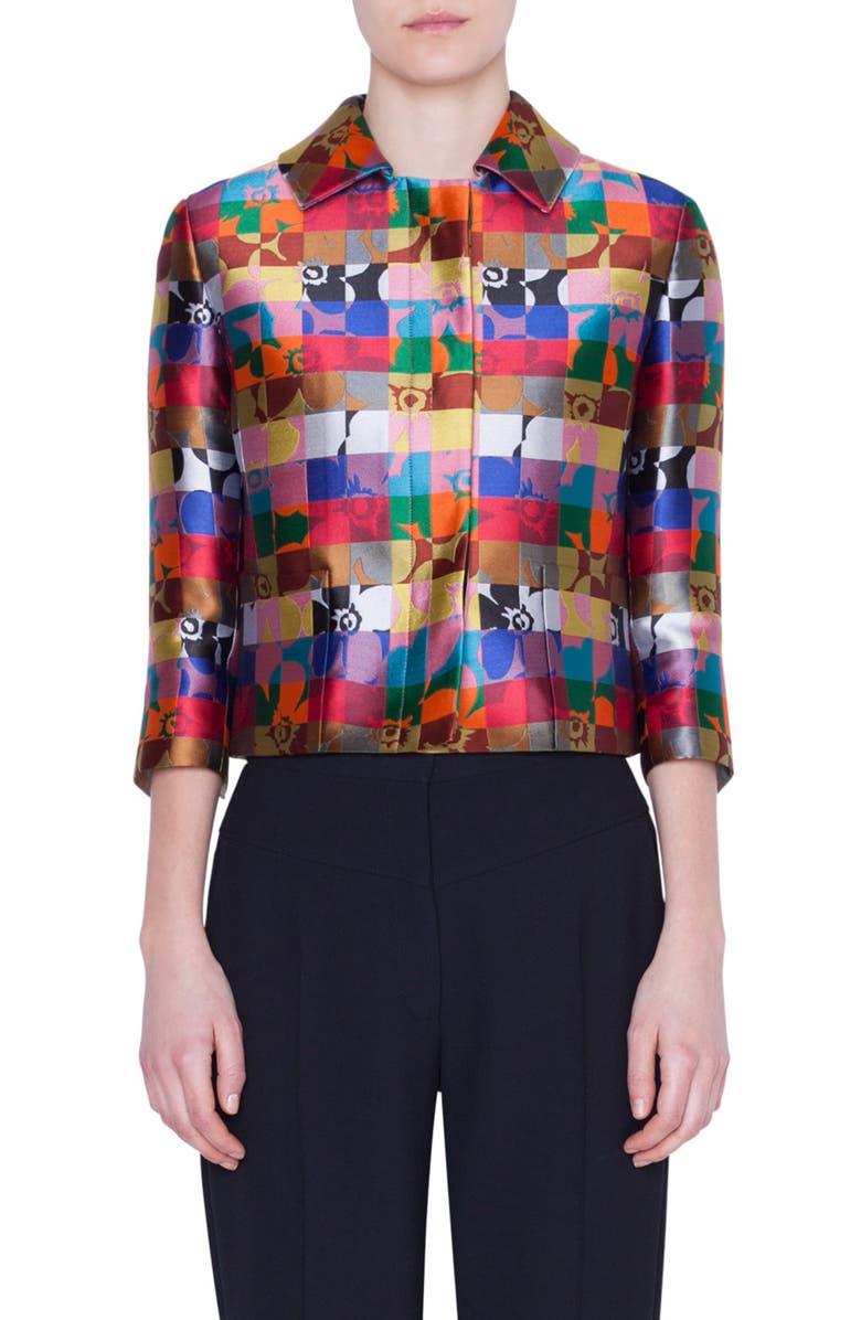 AKRIS PUNTO Floral Jacquard Crop Jacket, Main, color, FLORAL SQUARED ALLOVER