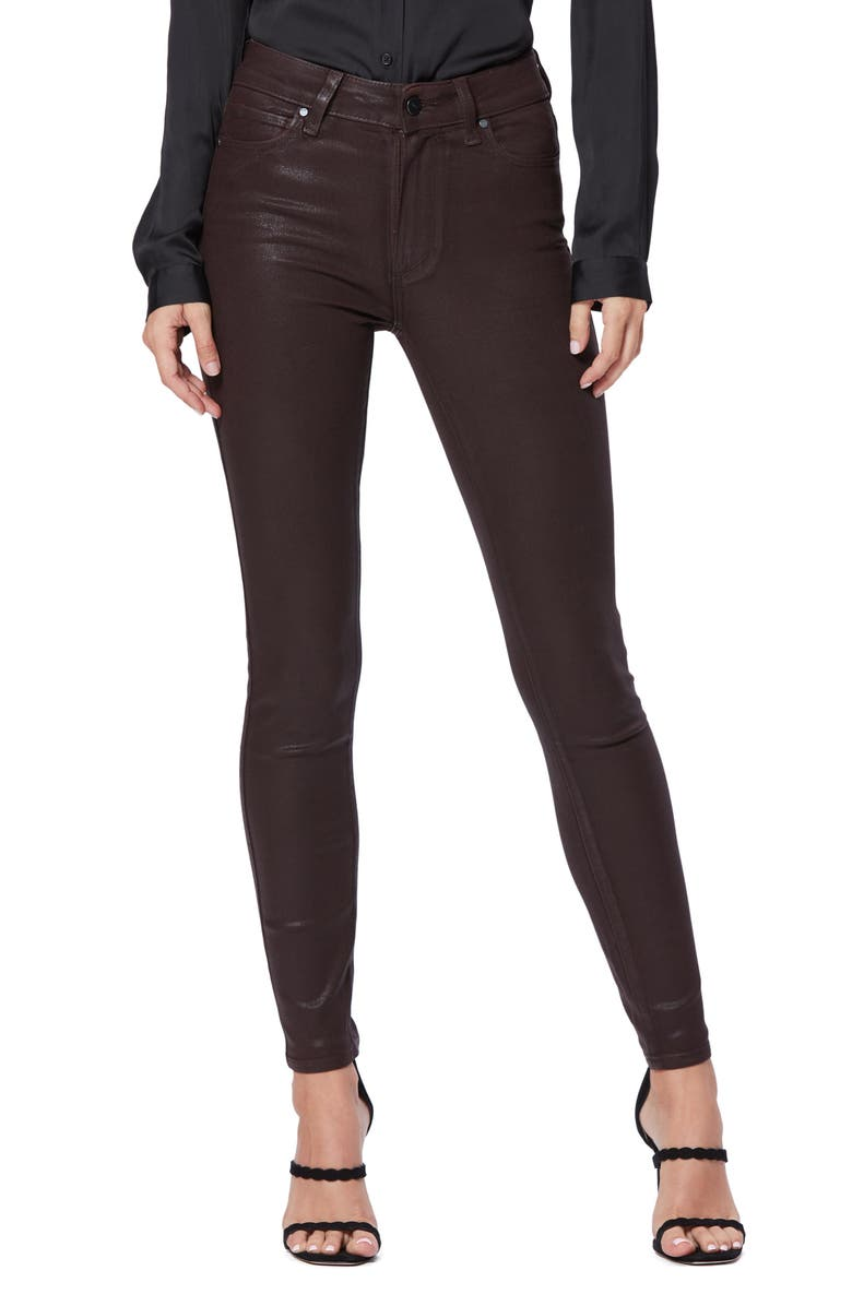 PAIGE Transcend - Hoxton Coated High Waist Skinny Jeans, Main, color, CHICORY COFFEE LUXE COATING