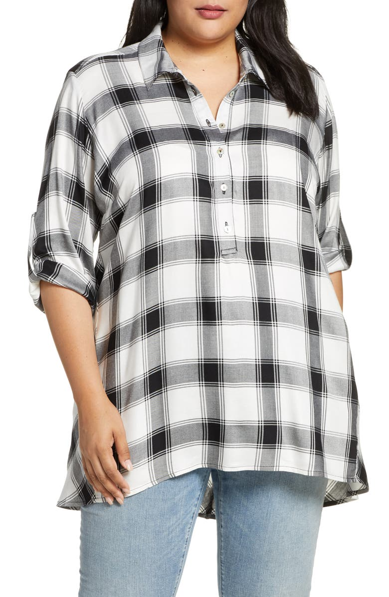 SINGLE THREAD Plaid Tunic Top, Main, color, WHT/ BLK
