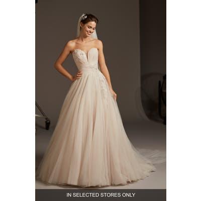 Pronovias Lacerta Strapless Tulle A-Line Wedding Dress, Size - Pink