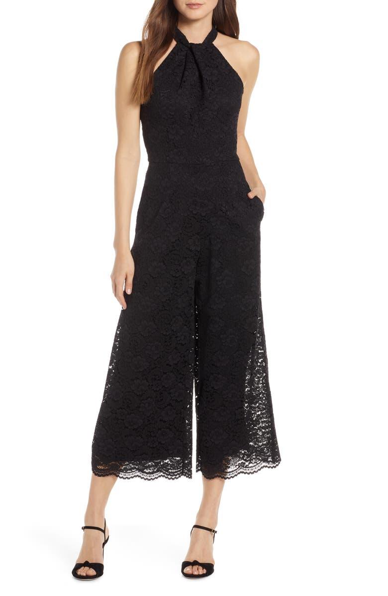 JULIA JORDAN Cropped Lace Jumpsuit, Main, color, BLACK