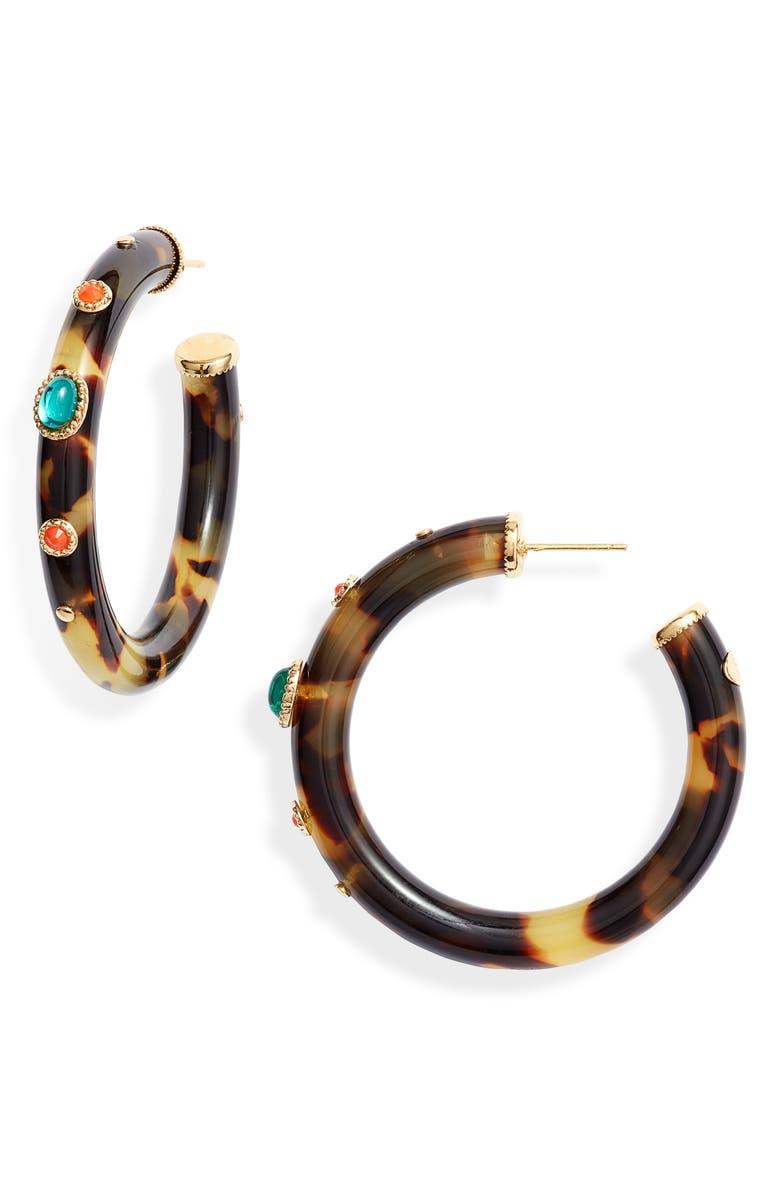 GAS BIJOUX Caftan Embellished Hoop Earrings, Main, color, MULTI/ BROWN