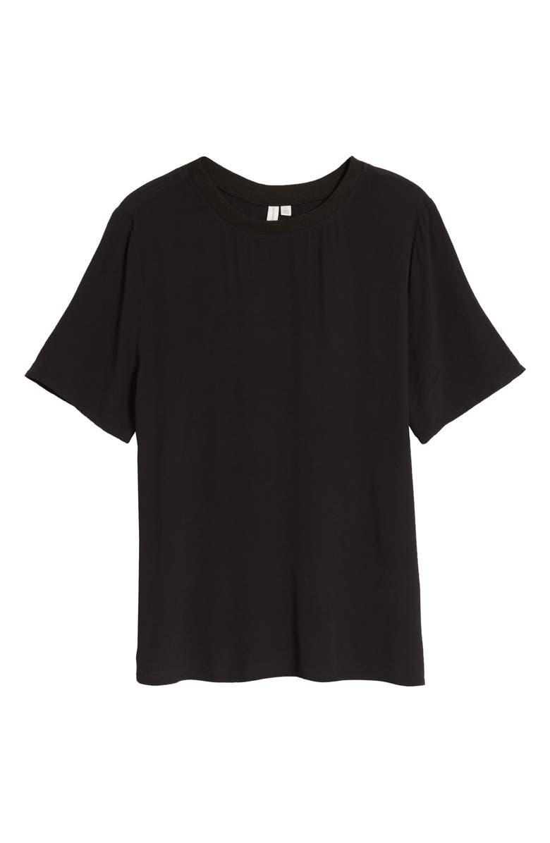 TREASURE & BOND Short Sleeve Woven T-Shirt, Main, color, BLACK