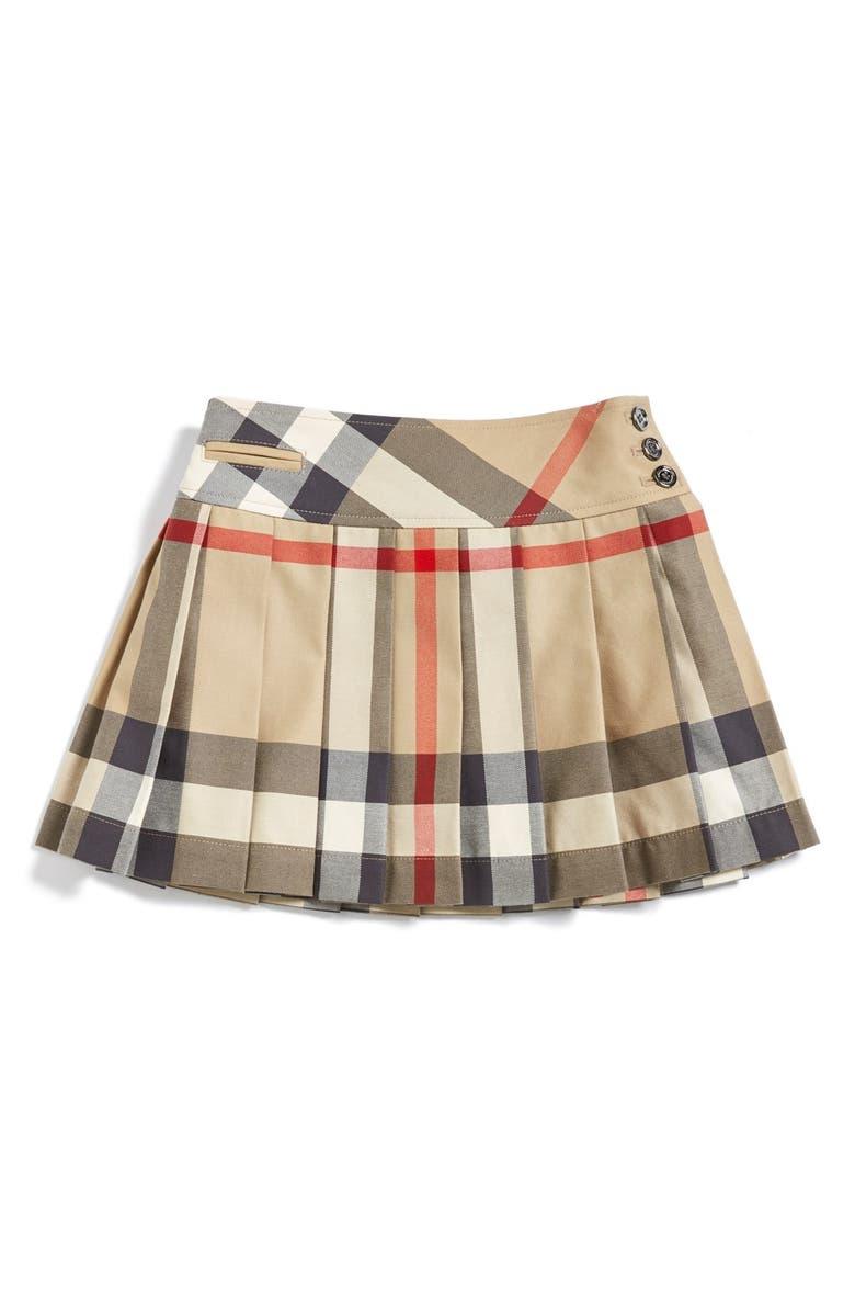 BURBERRY Check Print Skirt, Main, color, 272