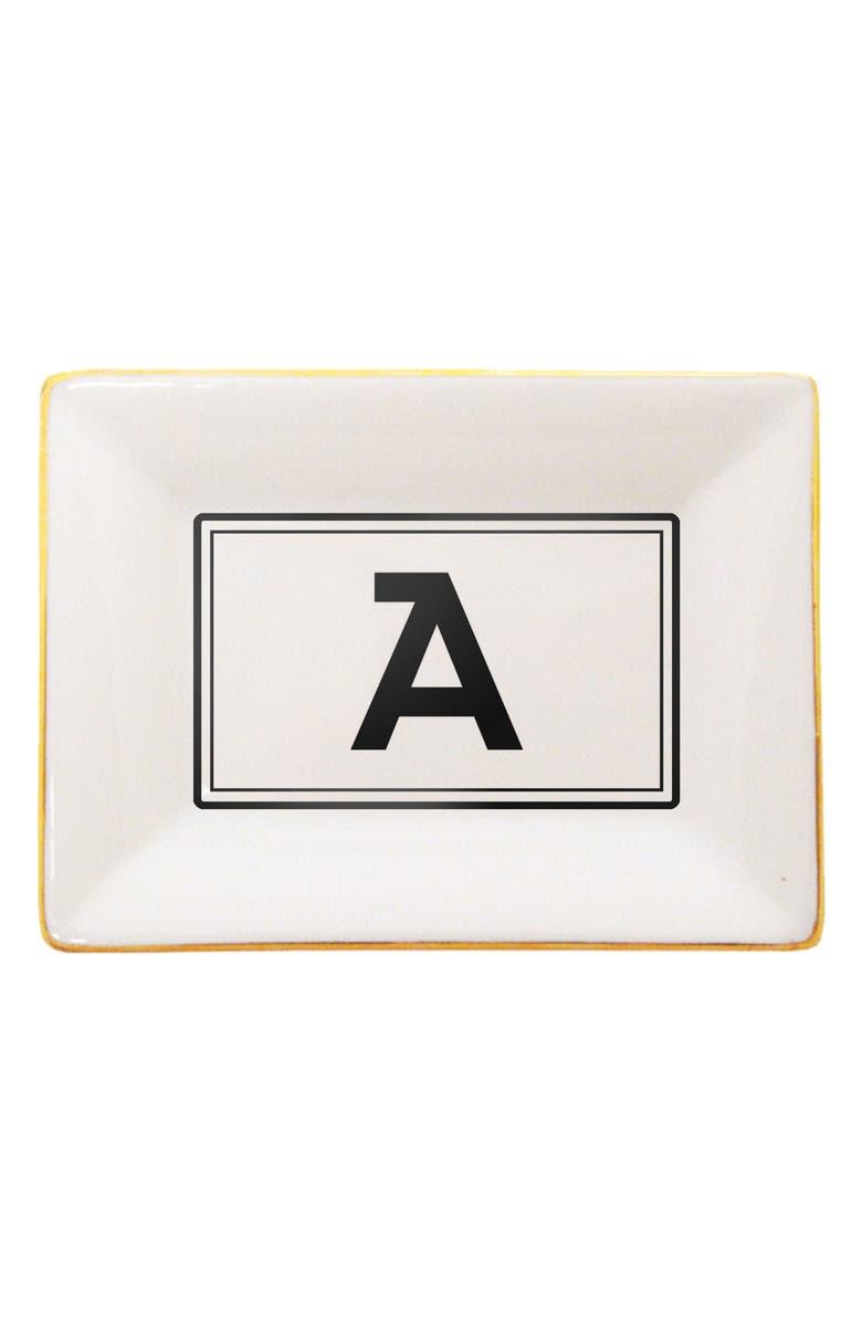 MCLAUGHLIN GLAZEWARE Brooklyn Gold Edge Porcelain Monogram Tray, Main, color, 710