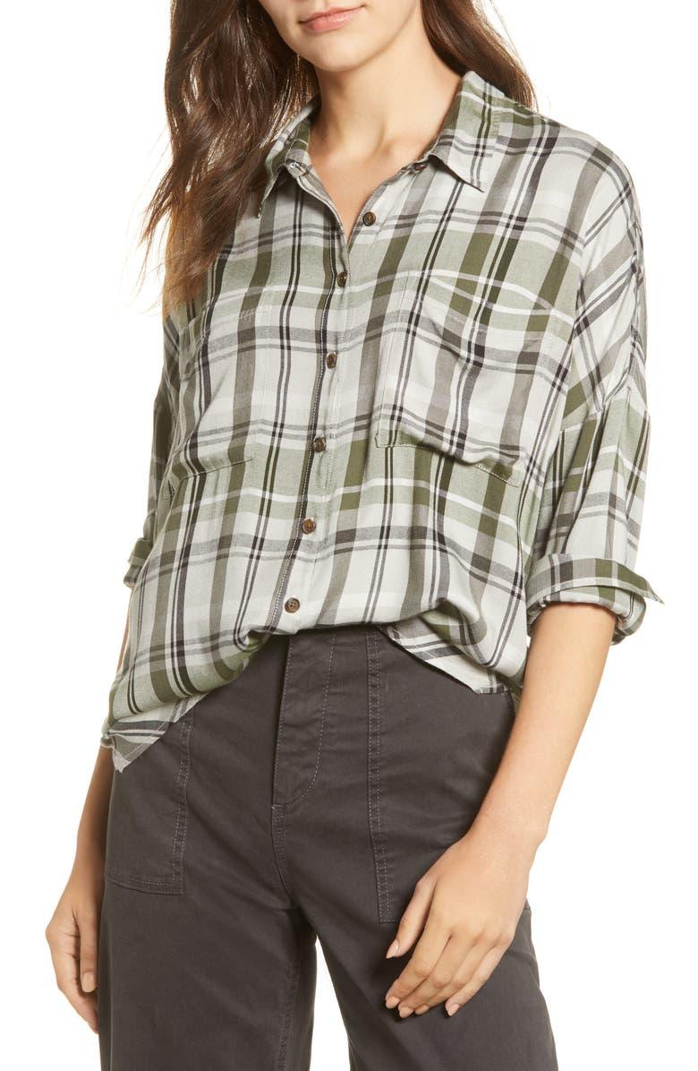 LOU & GREY Plaid Tie-Front Shirt, Main, color, GREEN MULTI
