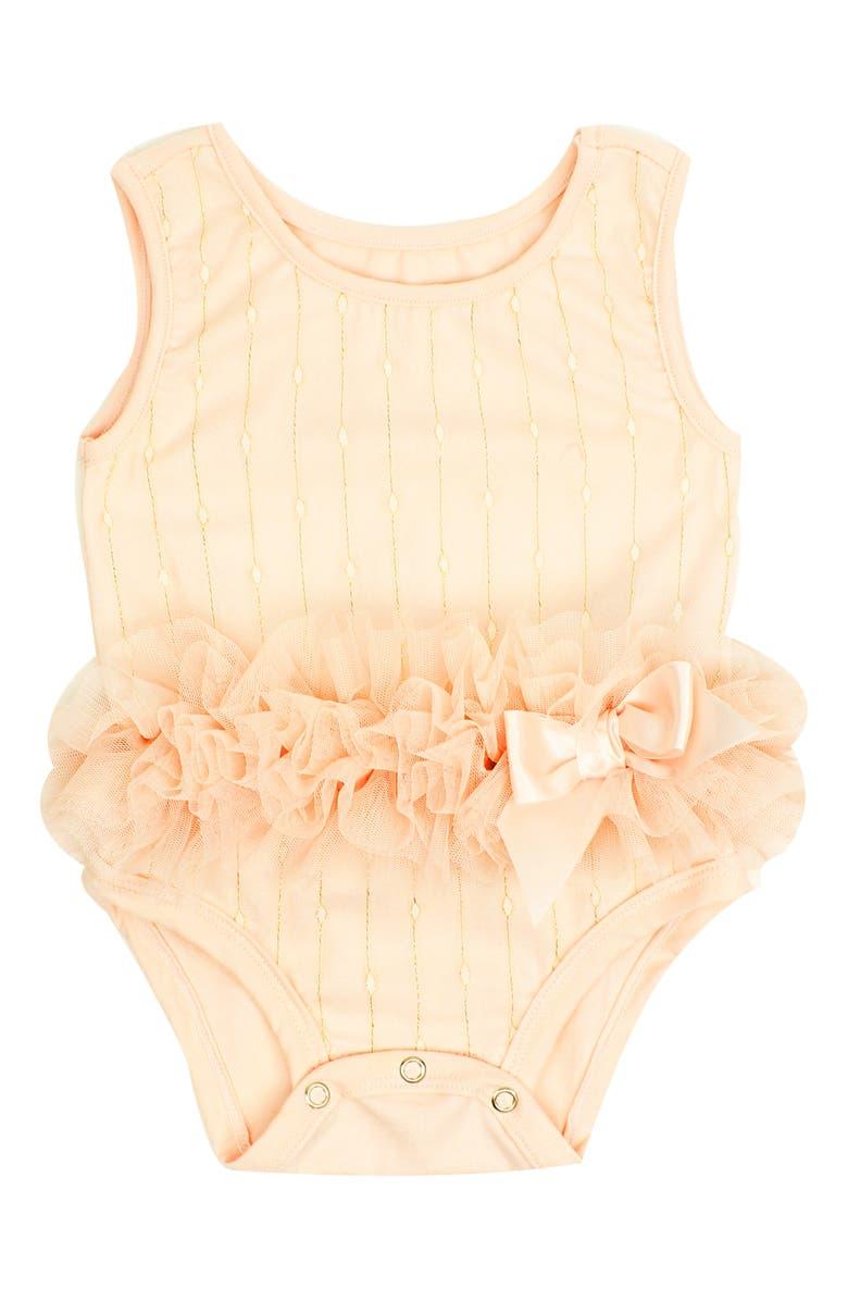 POPATU Shimmer Dot Tutu Bodysuit, Main, color, PEACH