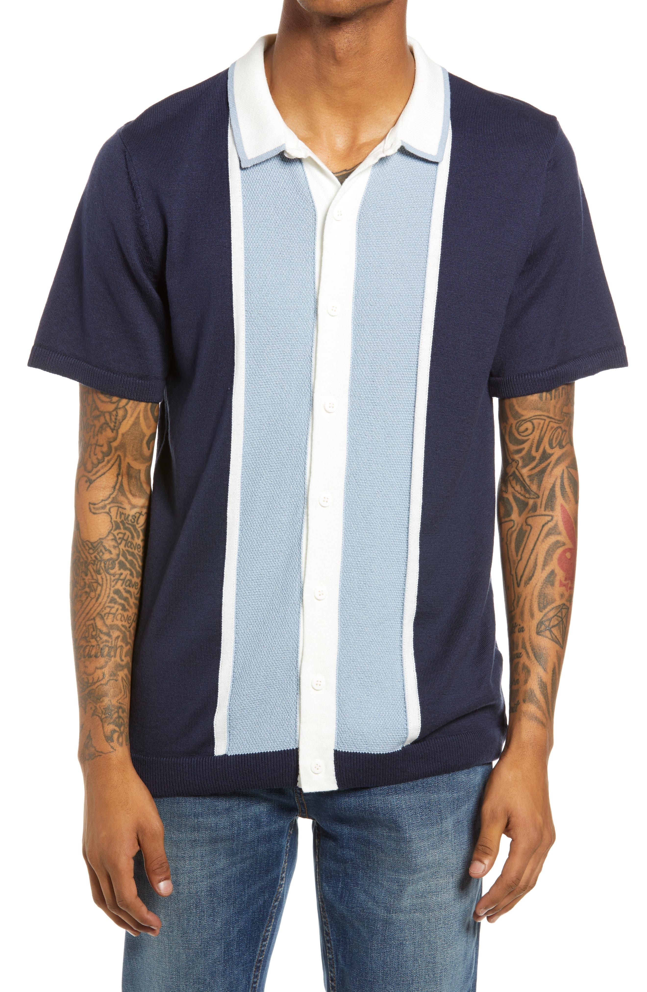 1960s Mens Shirts | 60s Mod Shirts, Hippie Shirts Mens Topman Colorblock Short Sleeve Button-Up Shirt Size X-Small - Blue $50.00 AT vintagedancer.com