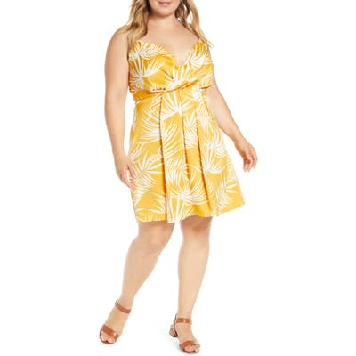 Plus Size Gibson X Hot Summer Nights Natalie Satin Faux Wrap Dress, Yellow (Plus Size) (Nordstrom Exclusive)