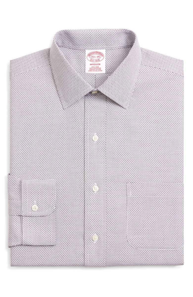 BROOKS BROTHERS Madison Classic Fit Check Dress Shirt, Main, color, PURPLE