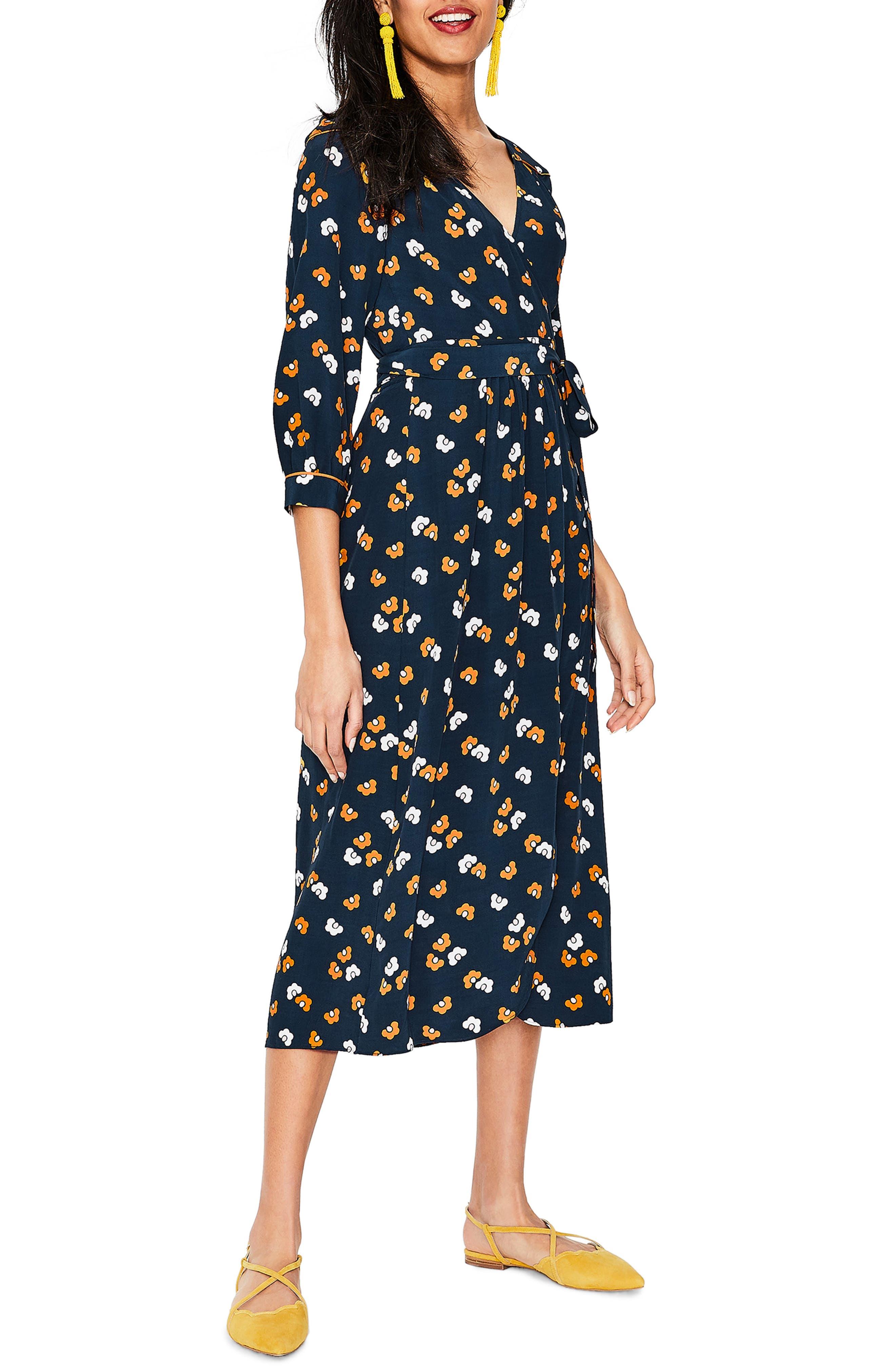 Petite Boden Floris Mod Floral Print Wrap Dress, Blue