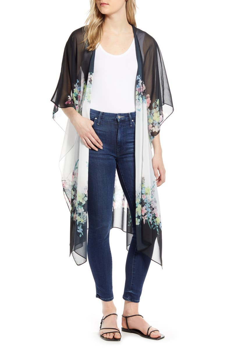 TED BAKER LONDON Ppollie Pergola Floral Duster, Main, color, IVORY/ BLACK