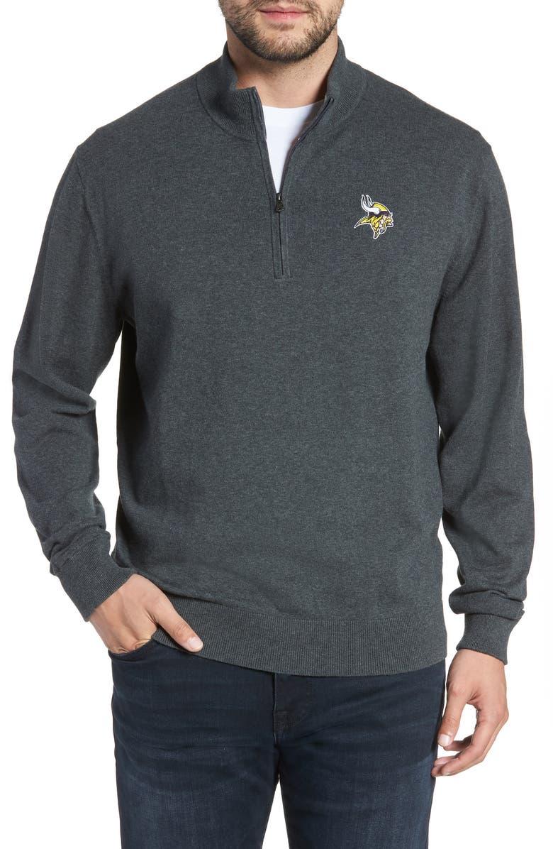 CUTTER & BUCK Minnesota Vikings - Lakemont Regular Fit Quarter Zip Sweater, Main, color, CHARCOAL HEATHER