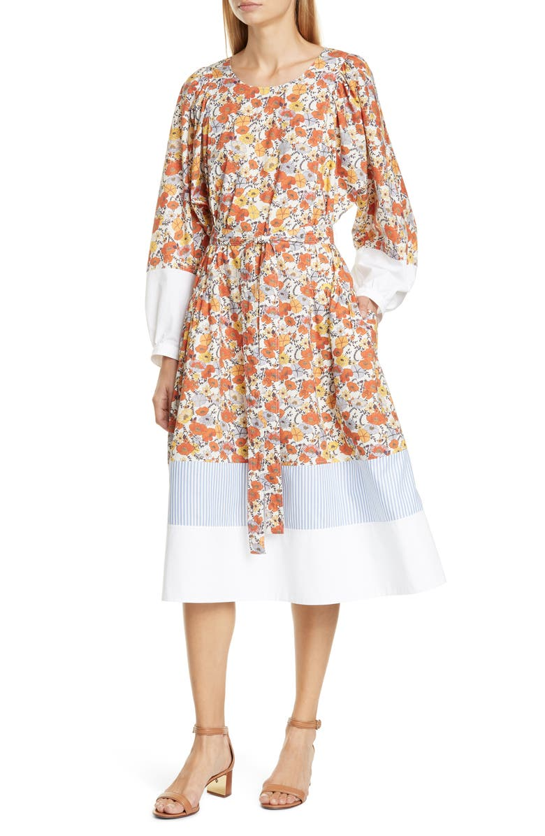 TORY BURCH Mix Pattern Long Sleeve Cotton Dress, Main, color, IVORY BLOSSOM DITSY