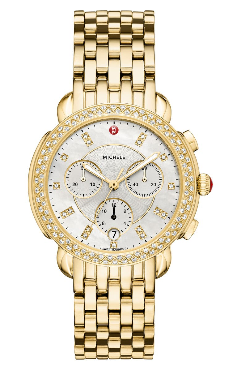 MICHELE Sidney Chronograph Diamond Watch Head & Bracelet, 38mm, Main, color, GOLD/ MOP