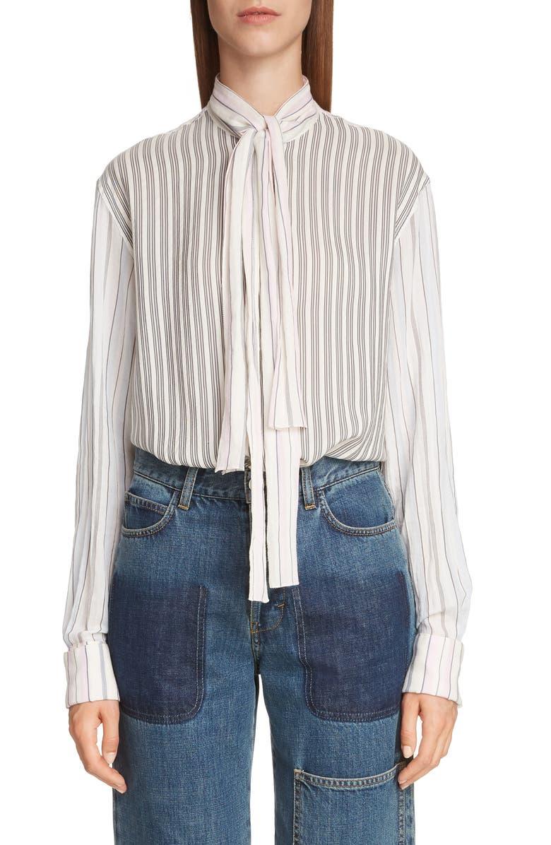 JW ANDERSON Pajama Stripe Tie Neck Blouse, Main, color, 900