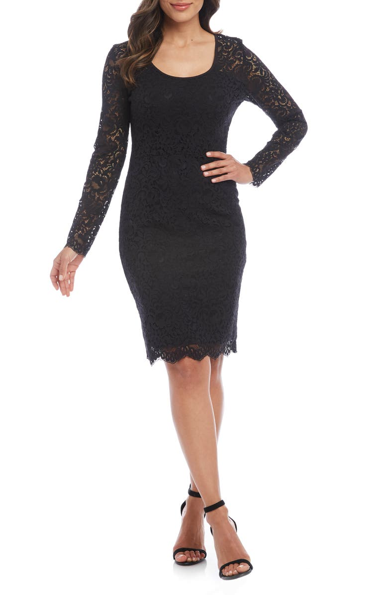 KAREN KANE London Long Sleeve Lace Cocktail Dress, Main, color, BLACK W/ BLACK