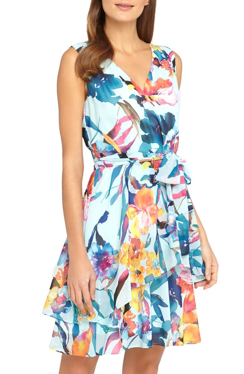 TAHARI Belted Floral Print Chiffon A-Line Dress, Main, color, 435