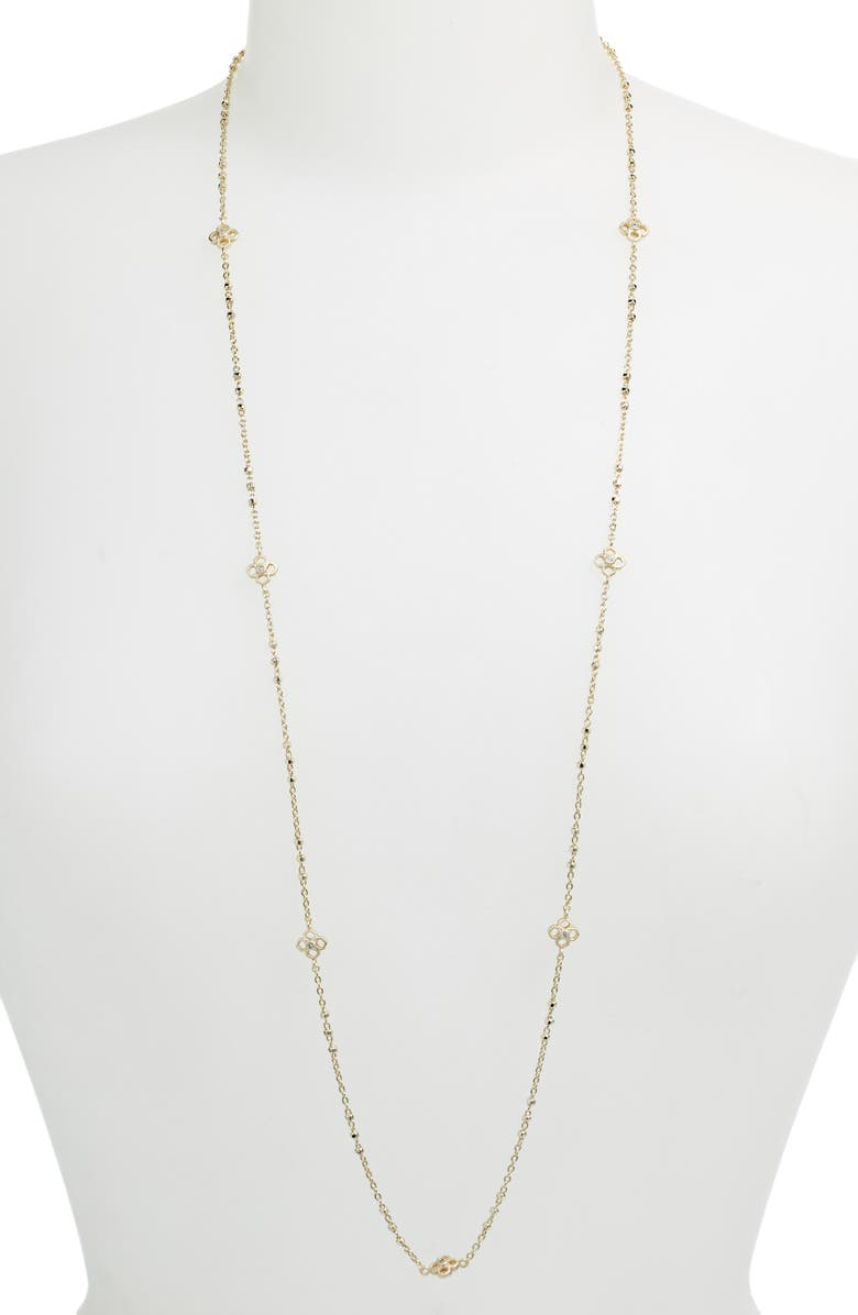 KENDRA SCOTT Rue Long Station Necklace, Main, color, GOLD/ WHITE CZ