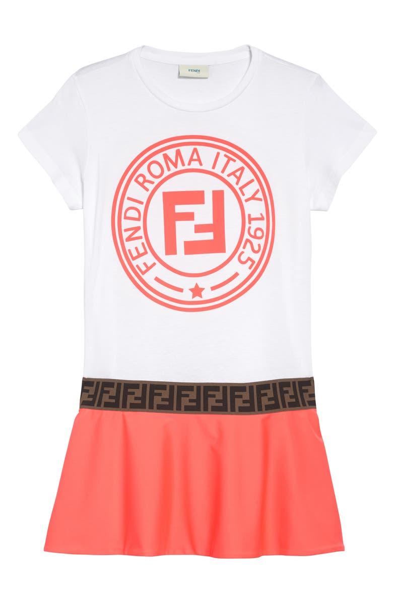 FENDI Logo Dress, Main, color, WHT/ PNK