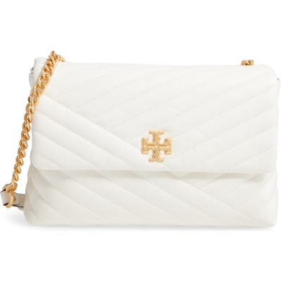 Tory Burch Kira Chevron Quilted Leather Shoulder Bag - Ivory