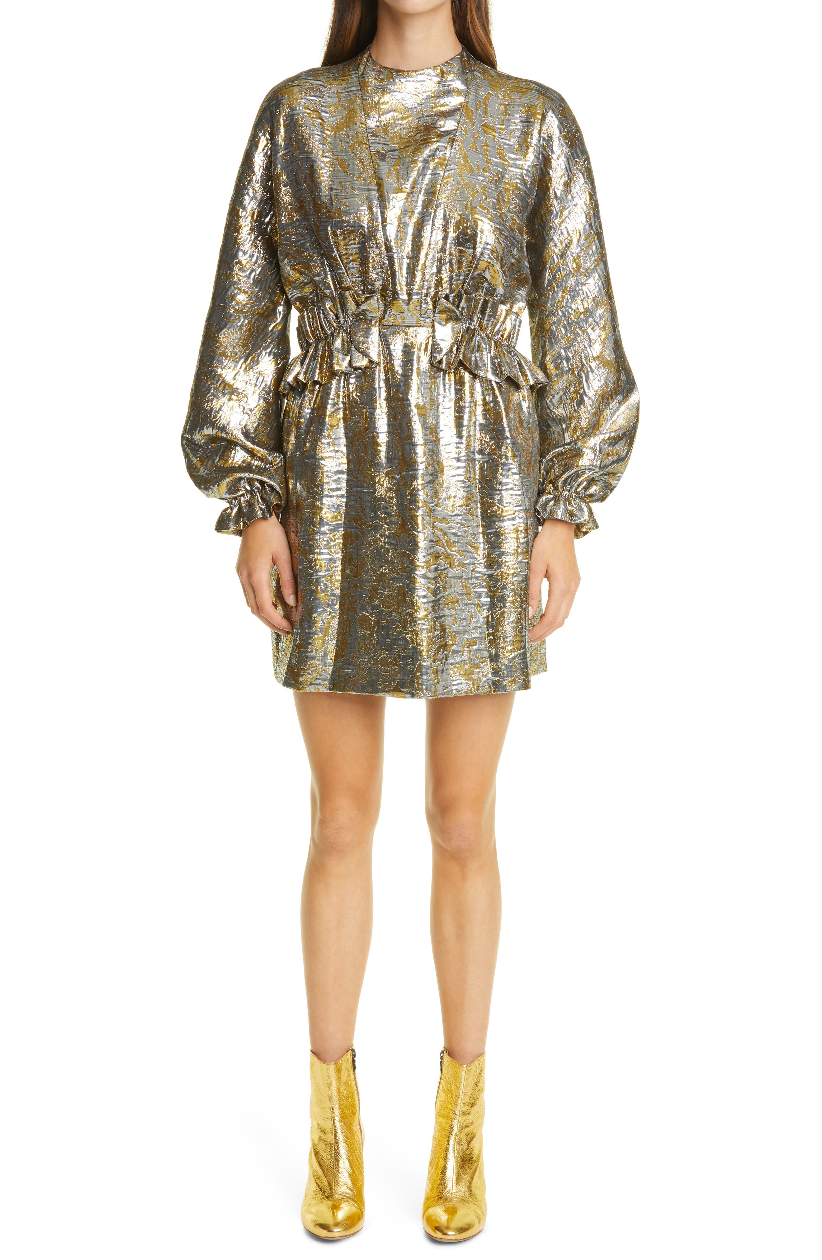 Image of DRIES VAN NOTEN Dasoni Metallic Long Sleeve Dress