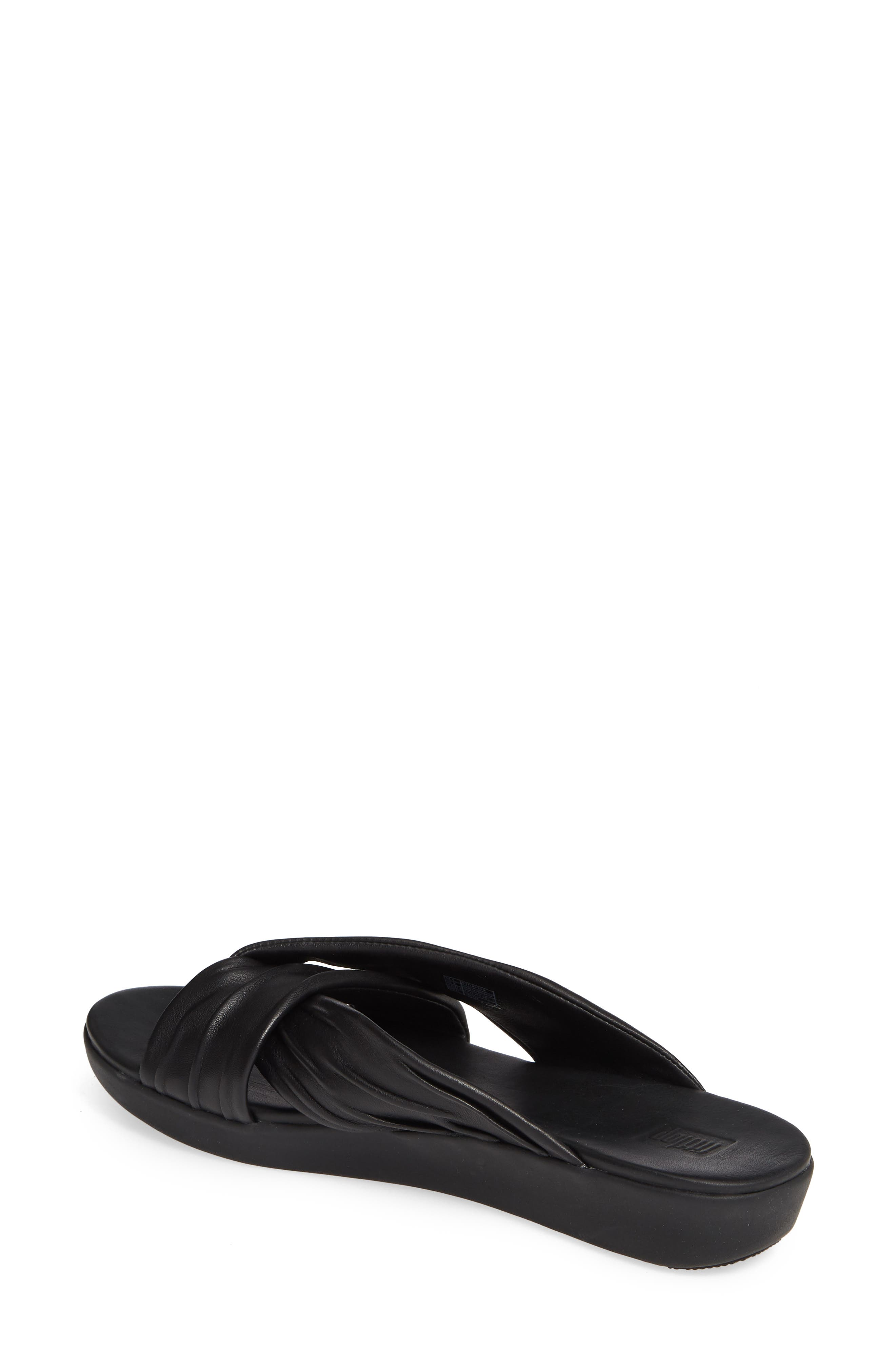 ,                             Twine Slide Sandal,                             Alternate thumbnail 2, color,                             BLACK LEATHER