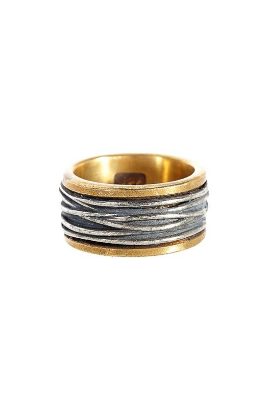 John Varvatos Men's Sterling Silver & Brass Woven Statement Ring
