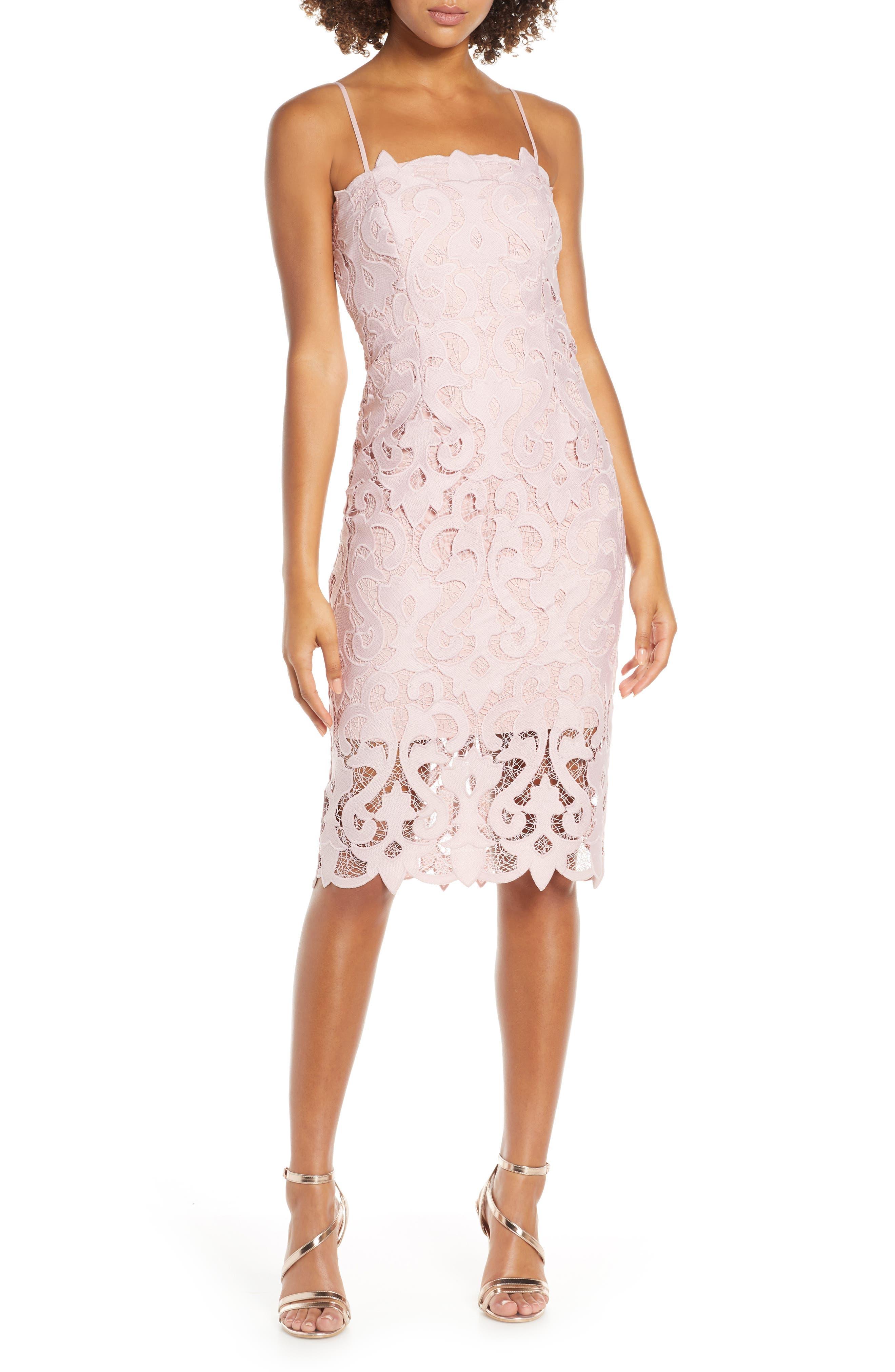 Bardot Lina Lace Cocktail Dress, Pink