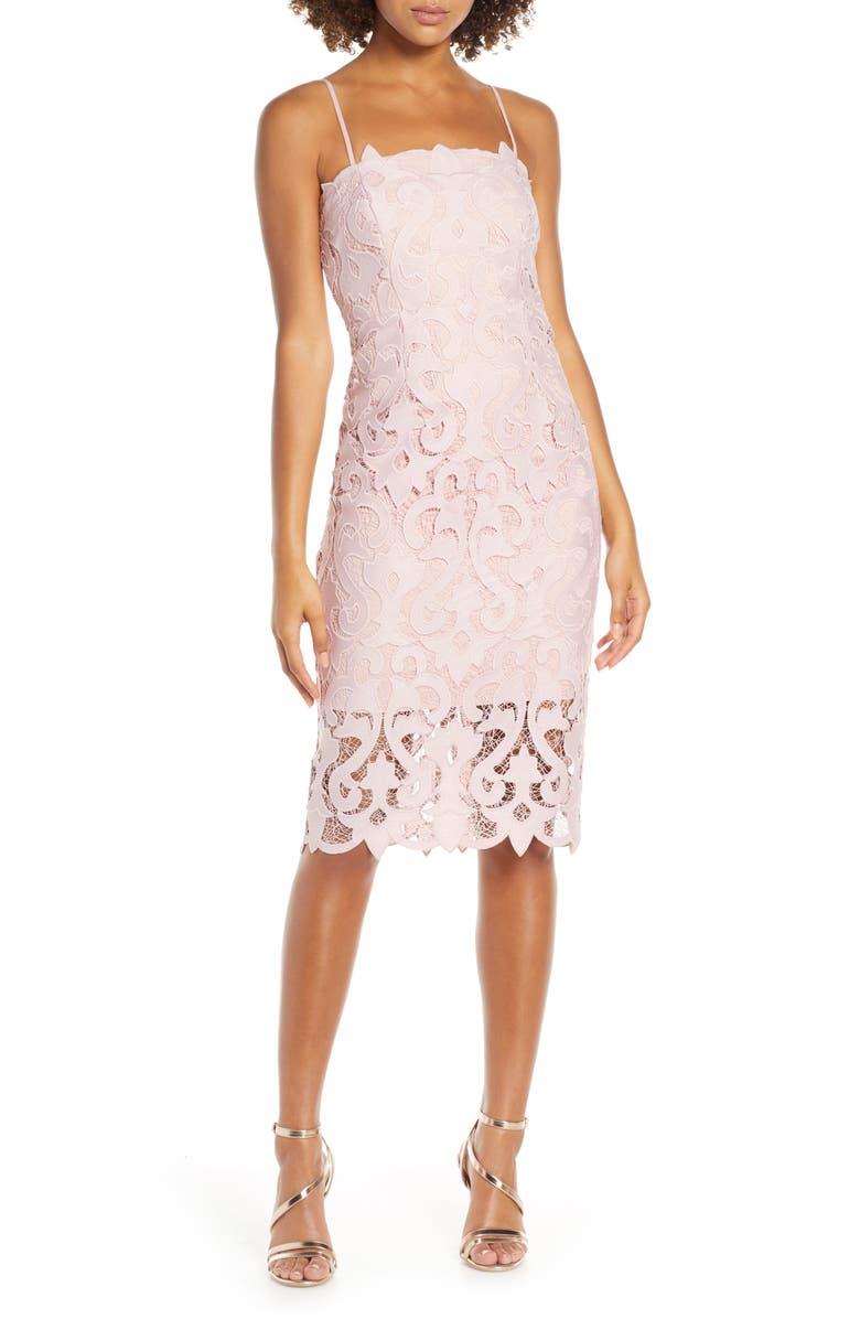 BARDOT Lina Lace Cocktail Dress, Main, color, PINK ROSE