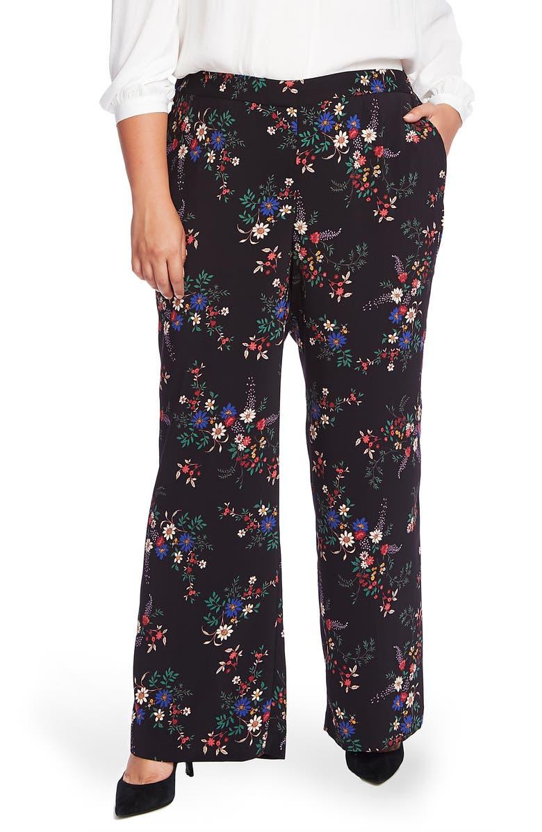 VINCE CAMUTO Country Bouquet Wide Leg Pants, Main, color, RICH BLACK