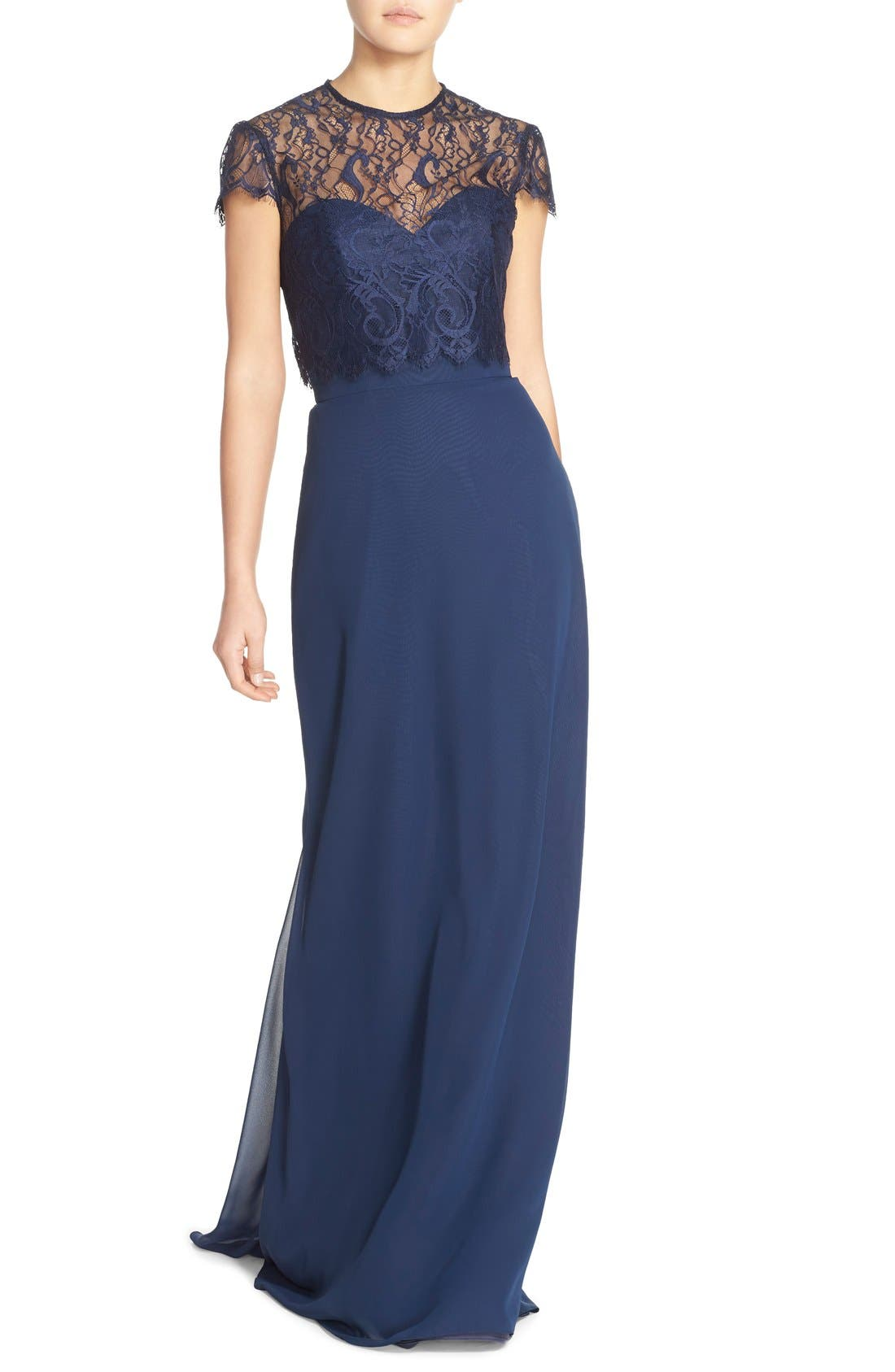 ,                             Strapless Chiffon A-Line Gown with Removable Lace Overlay,                             Main thumbnail 7, color,                             410