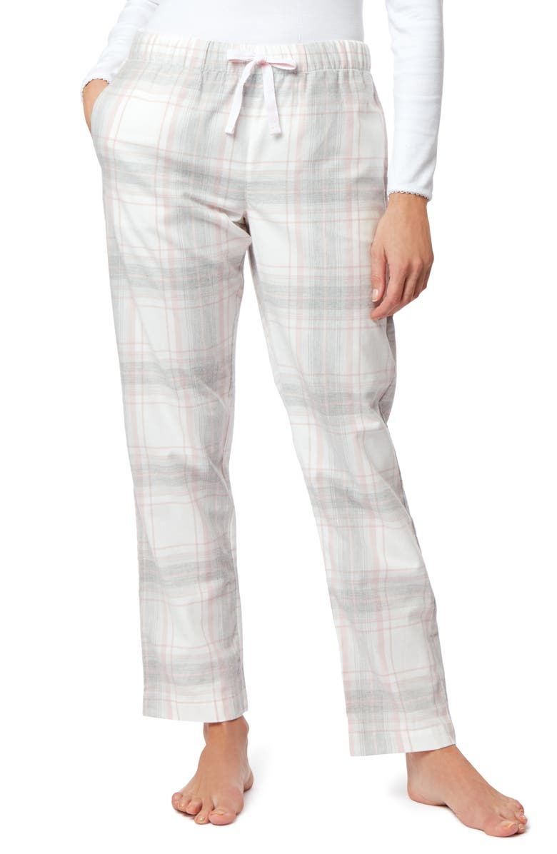 THE WHITE COMPANY Check Flannel Pajama Pants, Main, color, GREY/ PINK