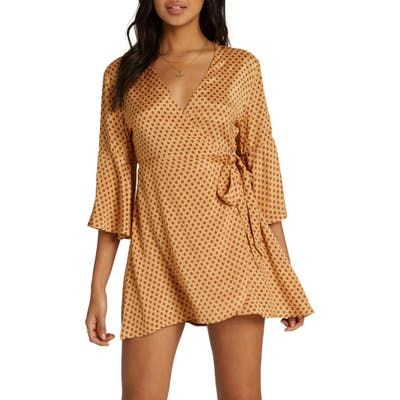 Billabong Divine Day Wrap Minidress, Yellow
