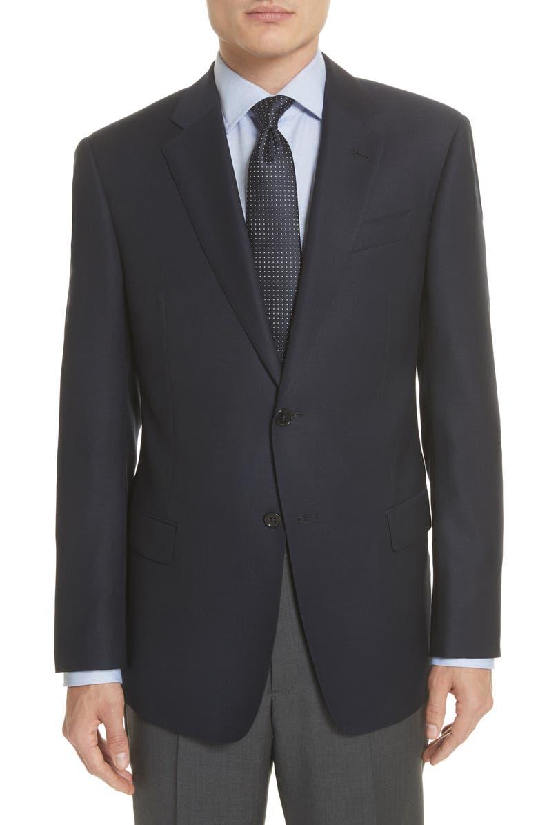 EMPORIO ARMANI Trim Fit Wool Blazer, Main, color, NAVY