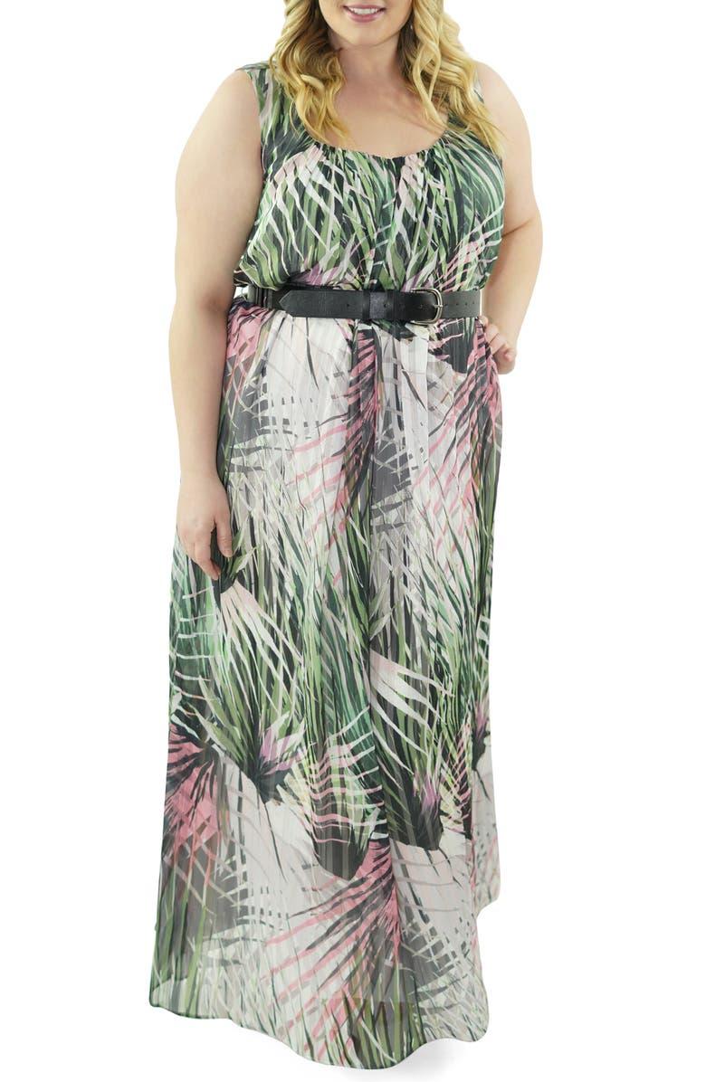 MARÉE POUR TOI Print Maxi Dress, Main, color, GREEN