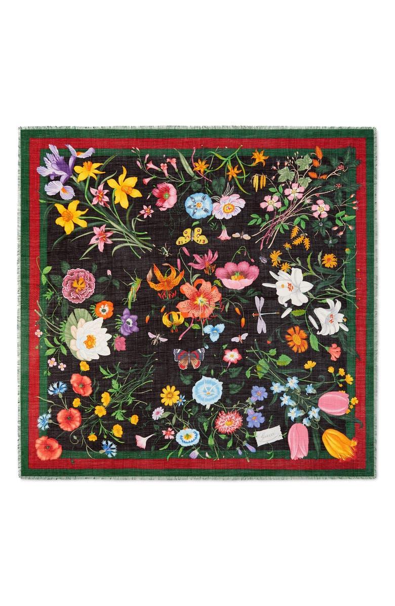 GUCCI Flora Web Print Wool & Silk Scarf, Main, color, BLACK/ DARK GREEN
