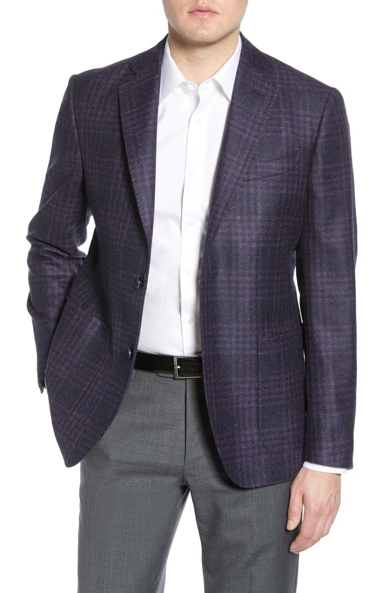 NORDSTROM SIGNATURE Trim Fit Plaid Wool Sport Coat, Main, color, PURPLE NAVY HEATHERED CHECK