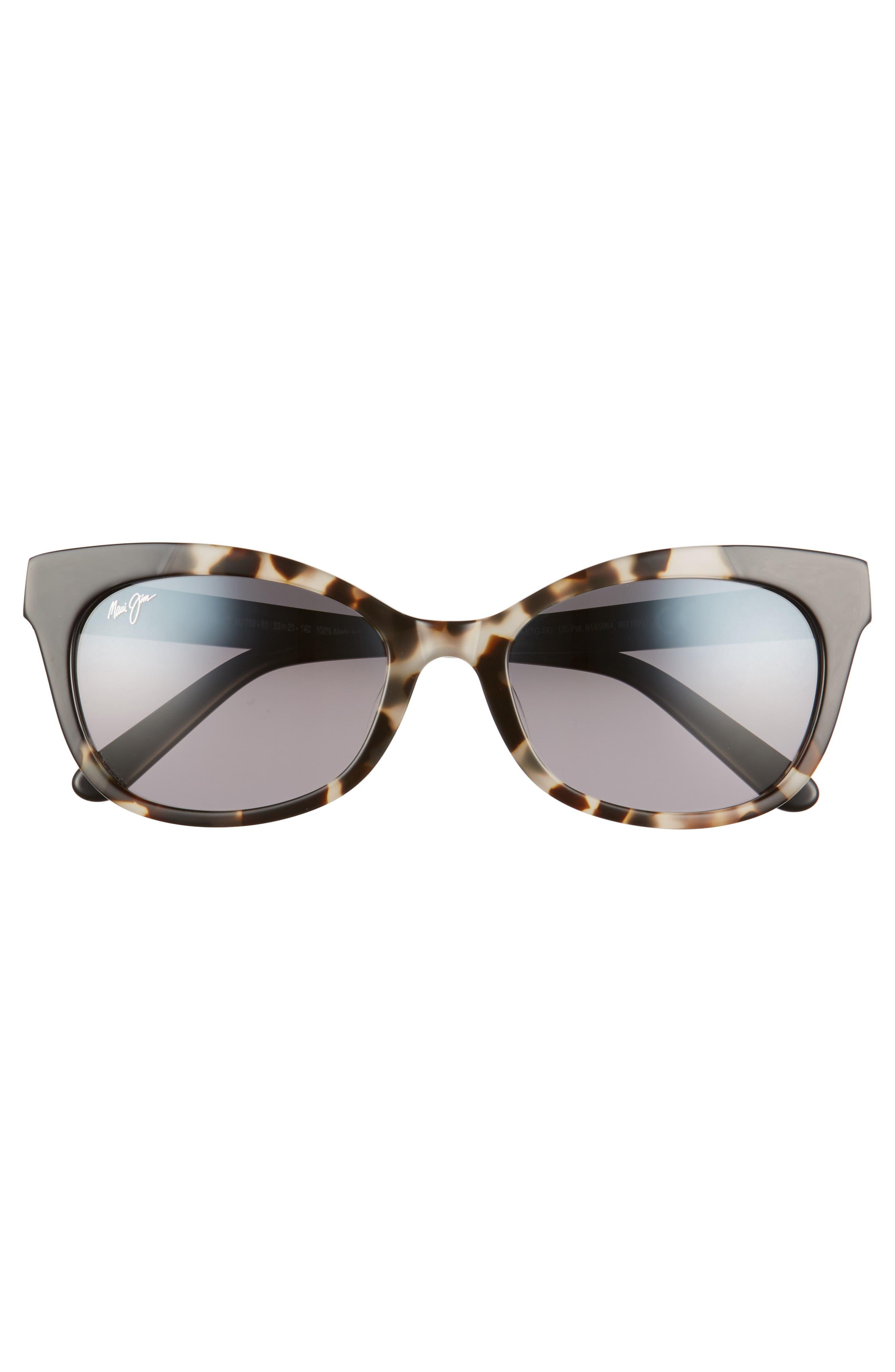 ,                             Ilima 53mm PolarizedPlus2<sup>®</sup> Cat Eye Sunglasses,                             Alternate thumbnail 3, color,                             WHITE TOKYO/ GLOSS BLACK