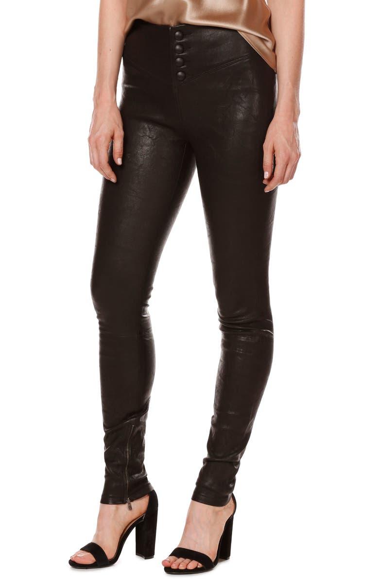 PAIGE Rosie HW x PAIGE Ellery Ankle Zip Leather Pants, Main, color, 001