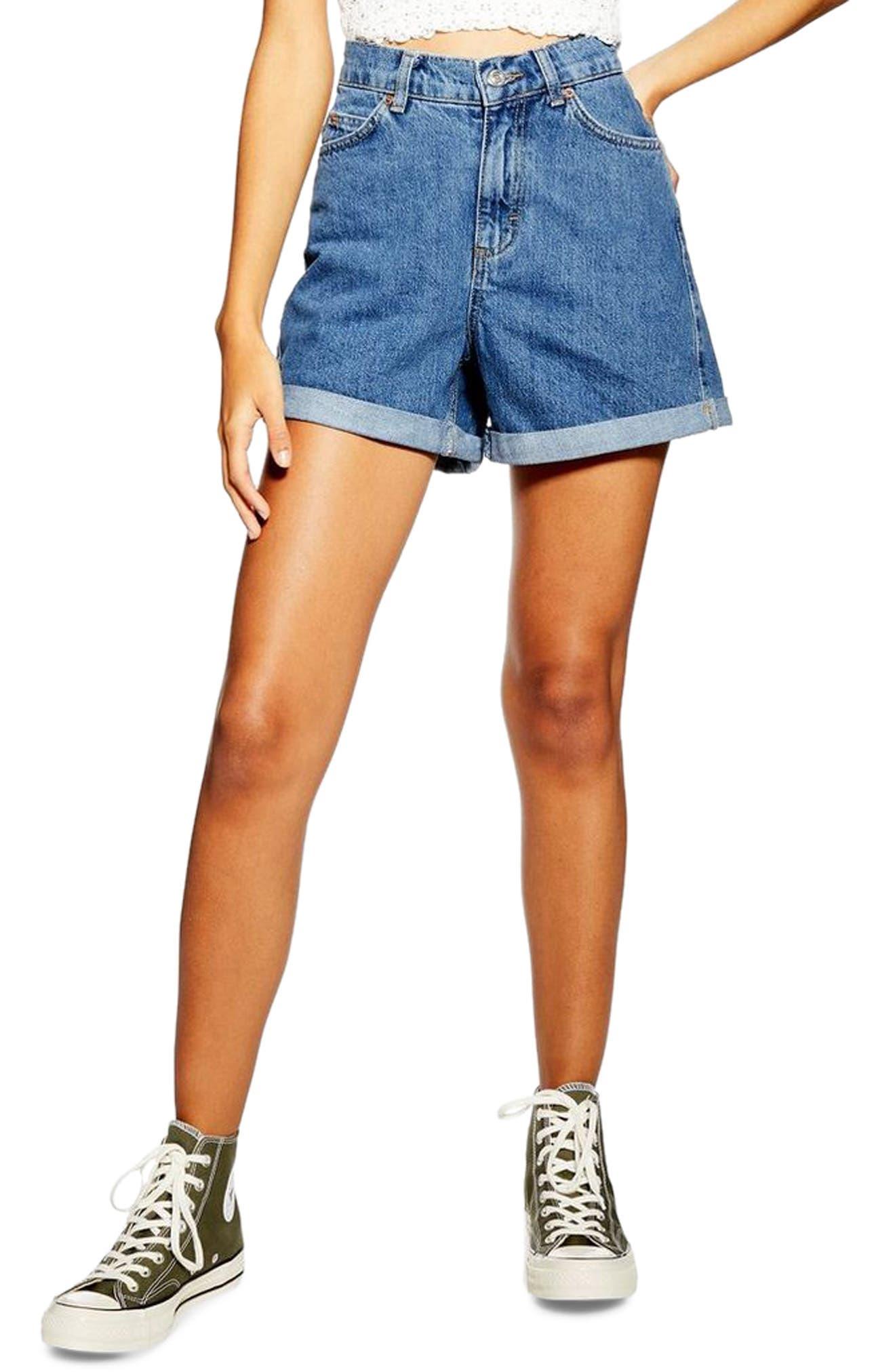 Vintage Shorts, Culottes,  Capris History Womens Topshop Roll Cuff Denim Mom Shorts $60.00 AT vintagedancer.com