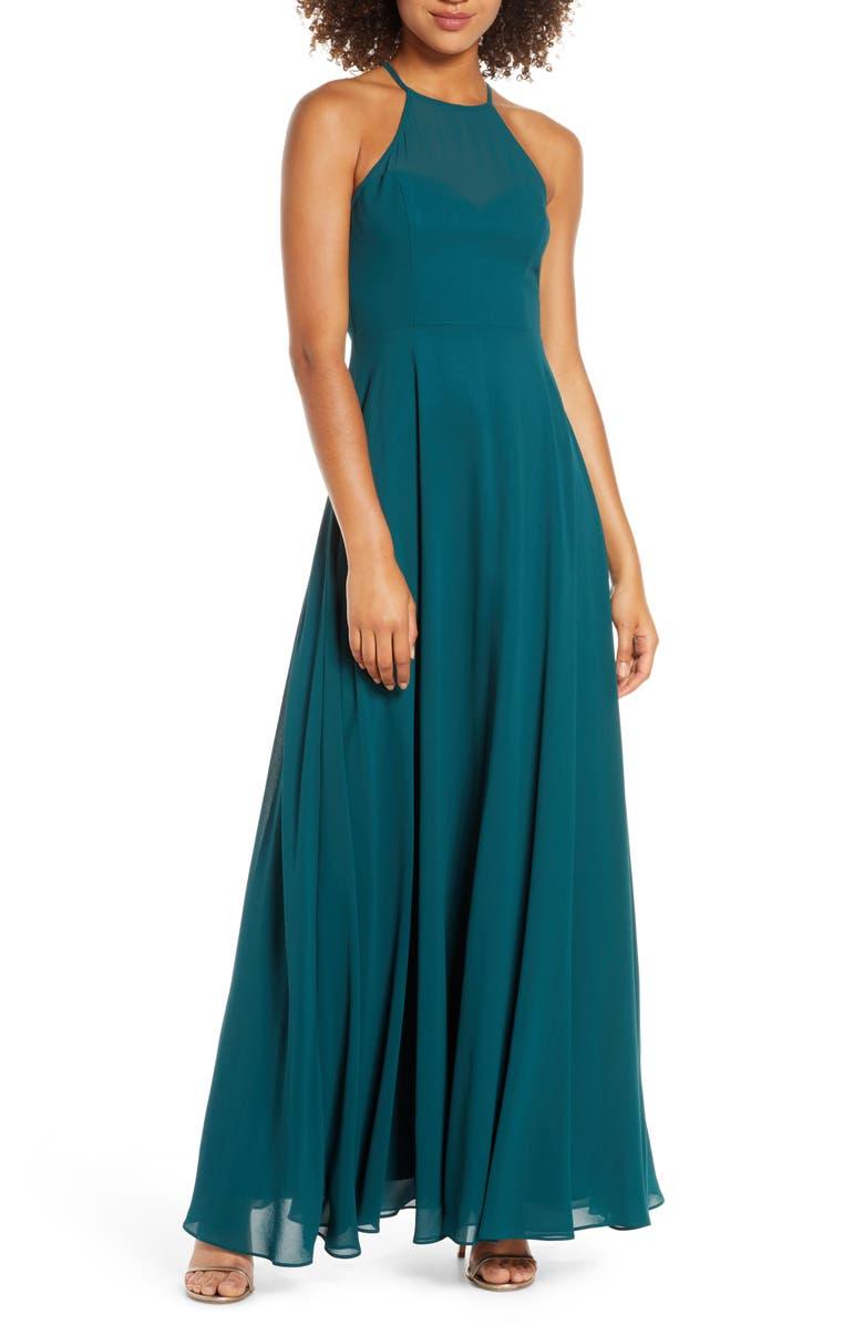 LULUS Night of Romance Halter Neck Chiffon Gown, Main, color, EMERALD
