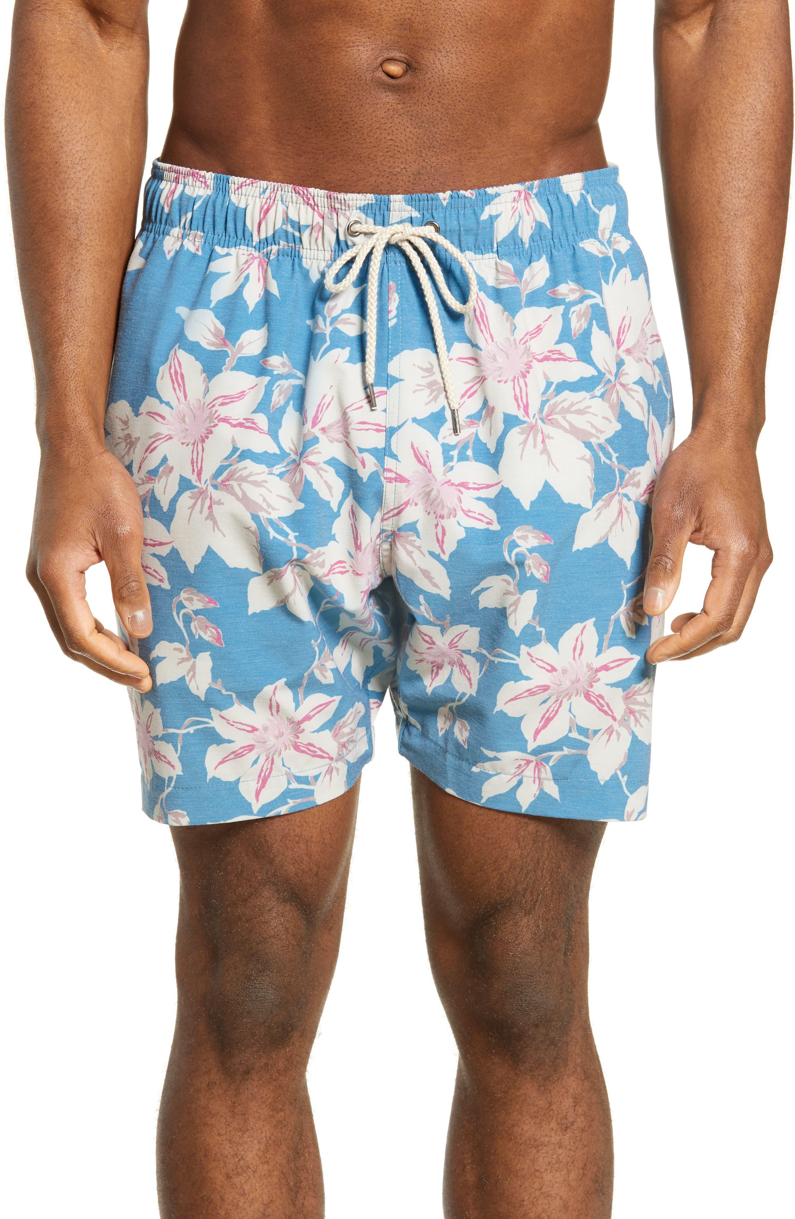 Faherty Beacon Regular Fit Floral Print Swim Trunks, Blue