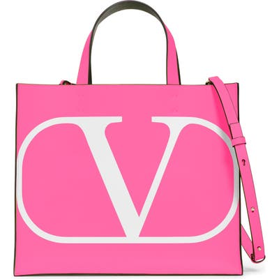 Valentino Garavani Small Vlogo Leather Tote - Pink