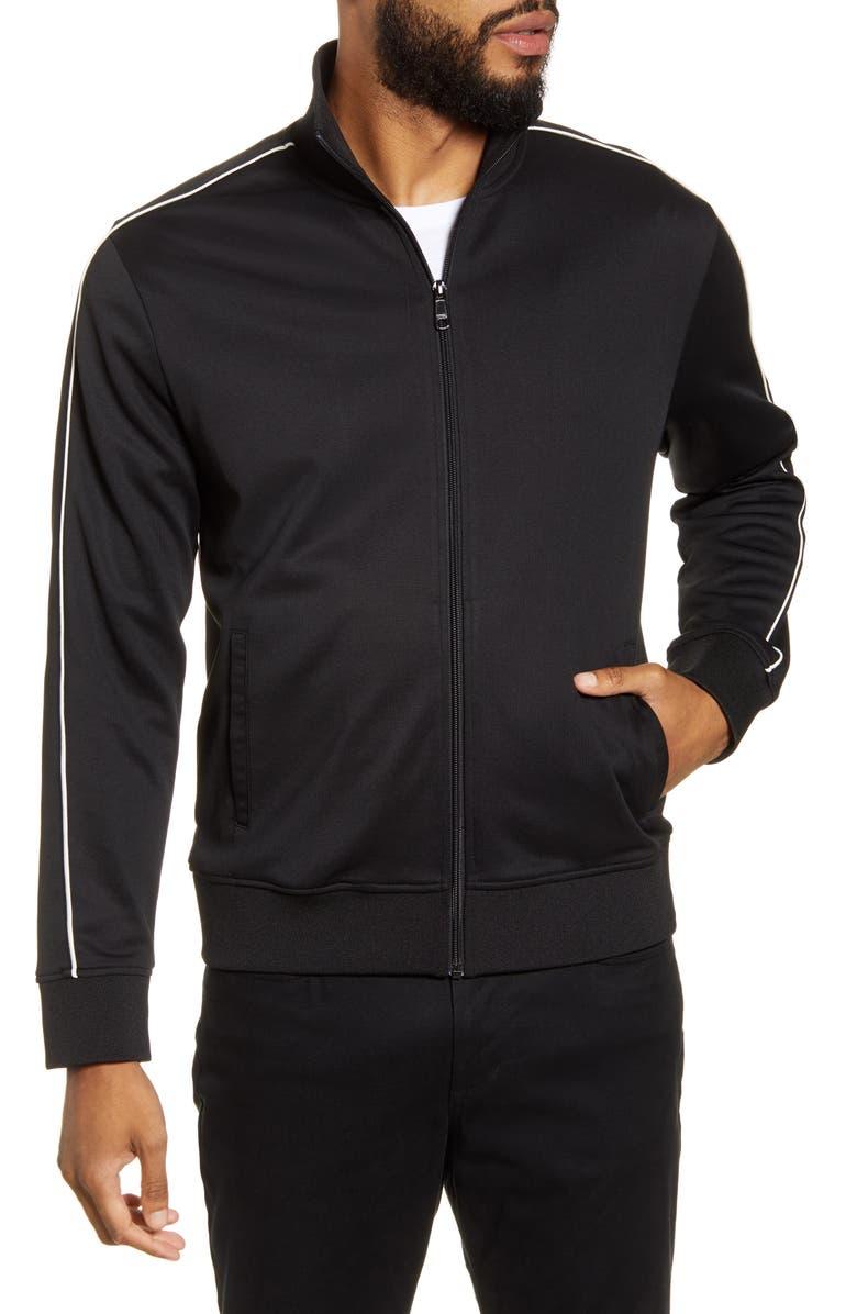 VINCE Slim Fit Zip-Up Track Jacket, Main, color, 001