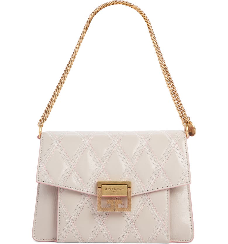 GIVENCHY Small GV3 Diamond Quilted Leather Crossbody Bag, Main, color, PALE PINK
