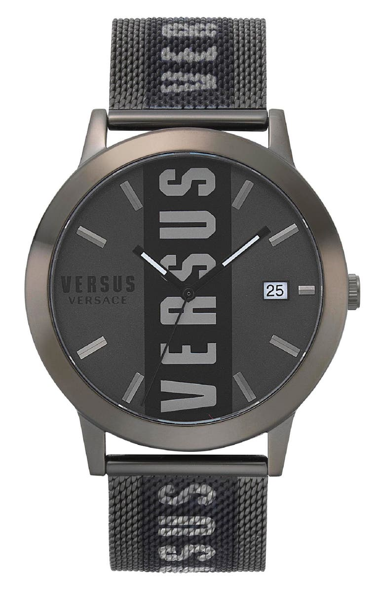 VERSUS VERSACE Barbes Logo Mesh Watch, 44mm, Main, color, BLACK/ GREY/ BLACK
