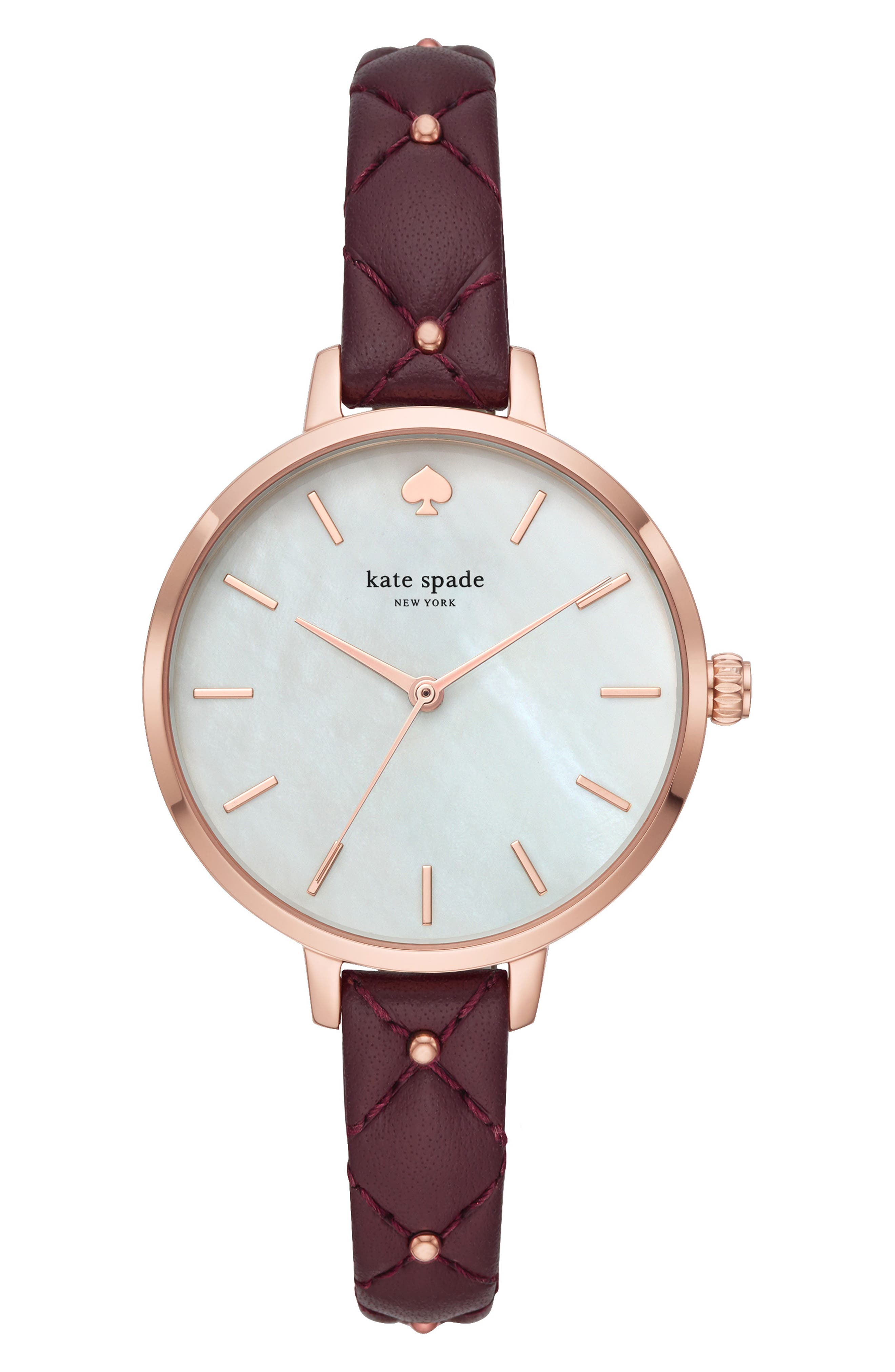 ,                             metro leather strap watch, 34mm,                             Main thumbnail 3, color,                             500