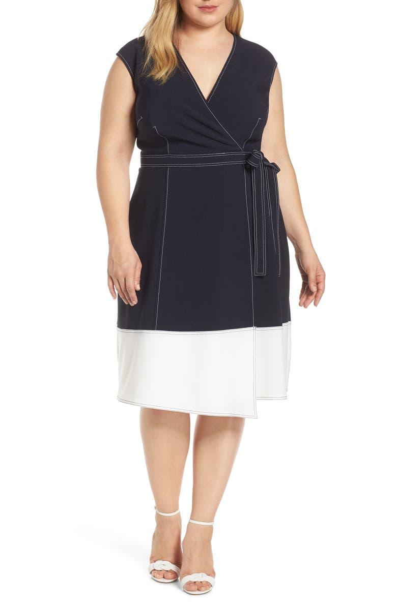 MAGGY LONDON Colorblock Faux Wrap Dress, Main, color, DARK NAVY/ SOFT WHITE